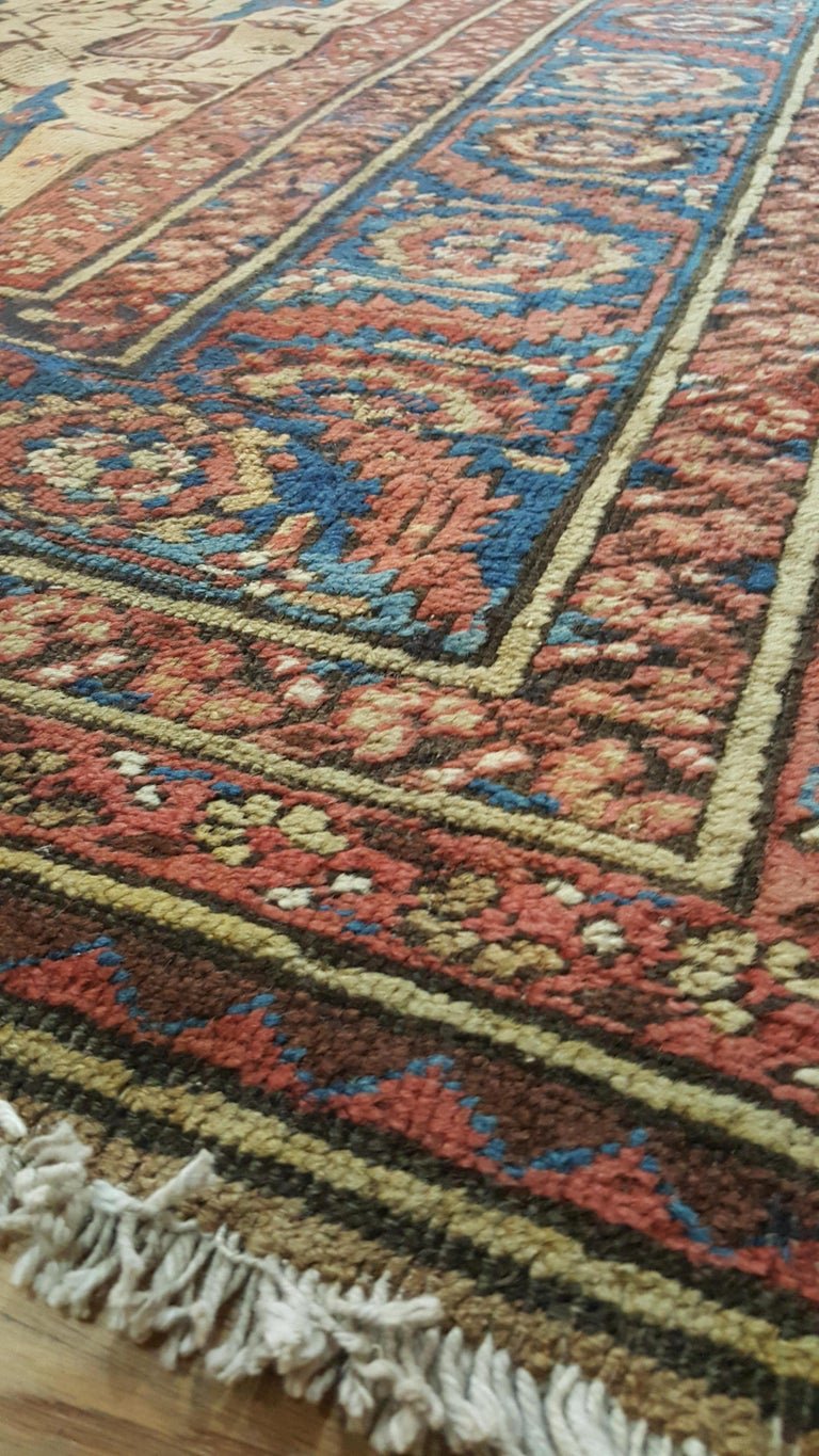 Antique Persian Serapi Carpet, Handmade Wool Oriental Rug, Gold-Ivory Light Blue In Good Condition For Sale In New York, NY