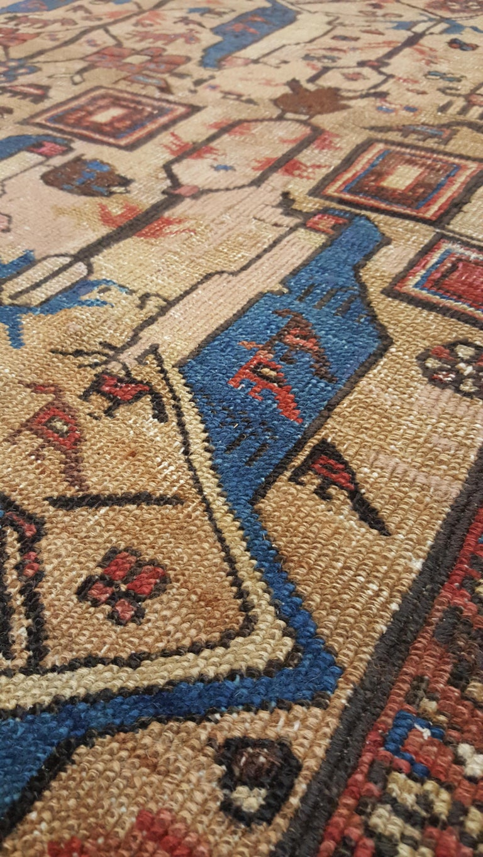 19th Century Antique Persian Serapi Carpet, Handmade Wool Oriental Rug, Gold-Ivory Light Blue For Sale