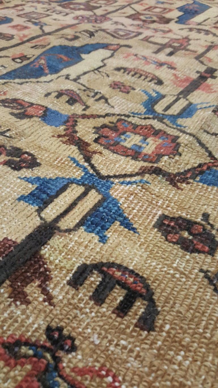Antique Persian Serapi Carpet, Handmade Wool Oriental Rug, Gold-Ivory Light Blue For Sale 1