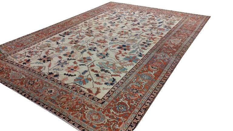 Antique Persian Serapi Carpet, Handmade Wool Oriental Rug, Ivory and Light Blue For Sale 5