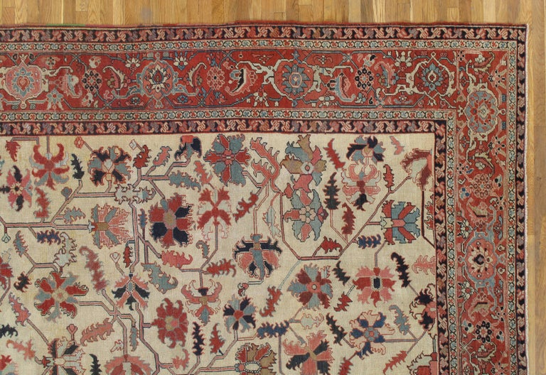 Hand-Knotted Antique Persian Serapi Carpet, Handmade Wool Oriental Rug, Ivory and Light Blue For Sale