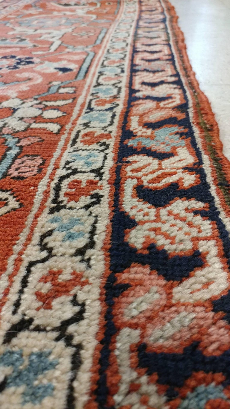 Late 19th Century Antique Persian Serapi Carpet, Handmade Wool Oriental Rug, Ivory and Light Blue For Sale