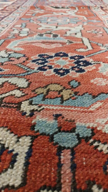 Antique Persian Serapi Carpet, Handmade Wool Oriental Rug, Ivory and Light Blue For Sale 1