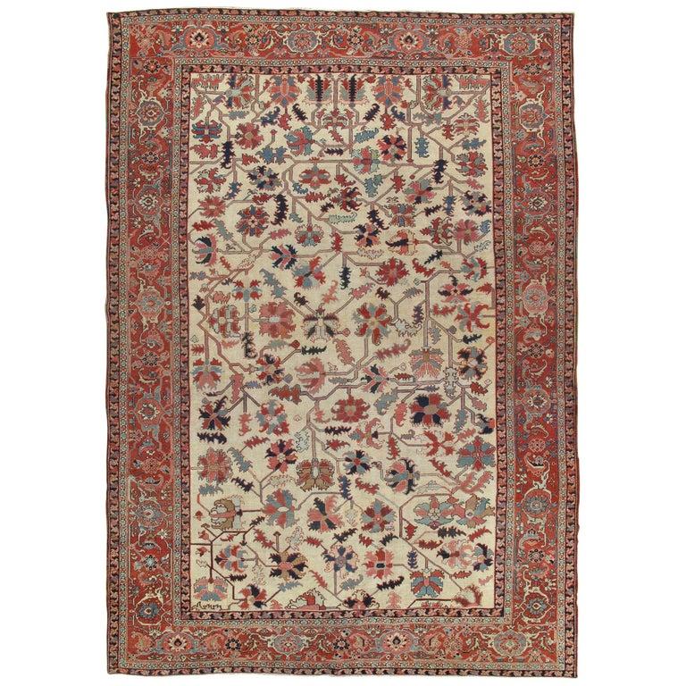 Antique Persian Serapi Carpet, Handmade Wool Oriental Rug, Ivory and Light Blue For Sale