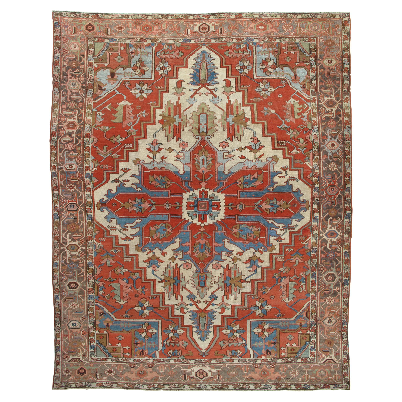Antique Persian Serapi Carpet, Handmade Wool Oriental Rug, Rust, Ivory, Lit Blue