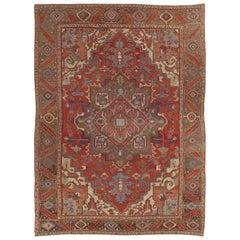 Antique Persian Serapi Carpet, Handmade Wool Oriental Rug, Rust Ivory Terracota