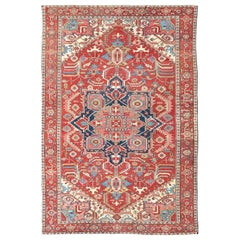 Antique Persian Serapi Carpet in Warm Red, Blue Colors and Geometric Design