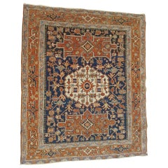 Antique Persian Serapi, Geometric Design, Navy and Rust, Scatter Size, Wool 1910