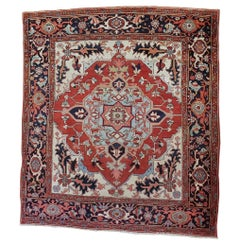 Antique Persian Serapi, Geometric Design, Red and Navy, Scatter Size, Wool, 1900