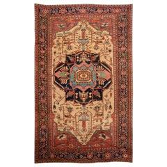 Antique Persian Serapi Handmade Colorful Wool Rug