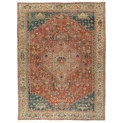 Antique Persian Serapi Heriz Rug, circa 1890 11'4 x 15'1