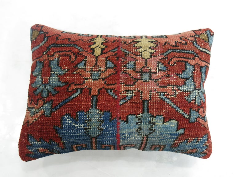 Heriz Serapi Antique Persian Serapi Lumbar Pillow For Sale
