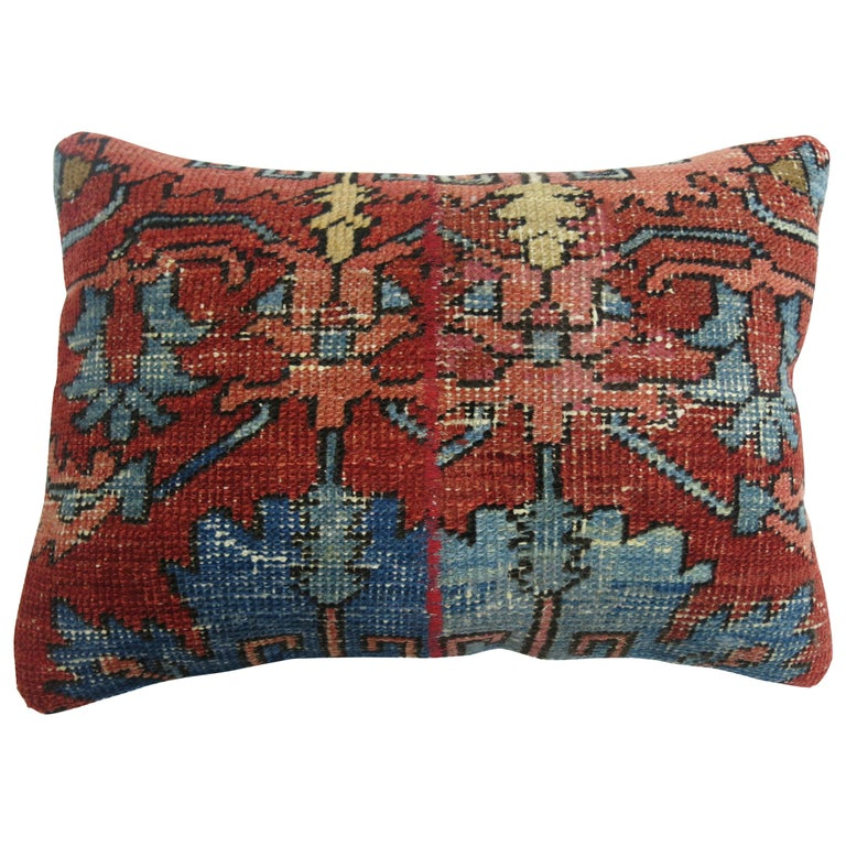 Antique Persian Serapi Lumbar Pillow For Sale