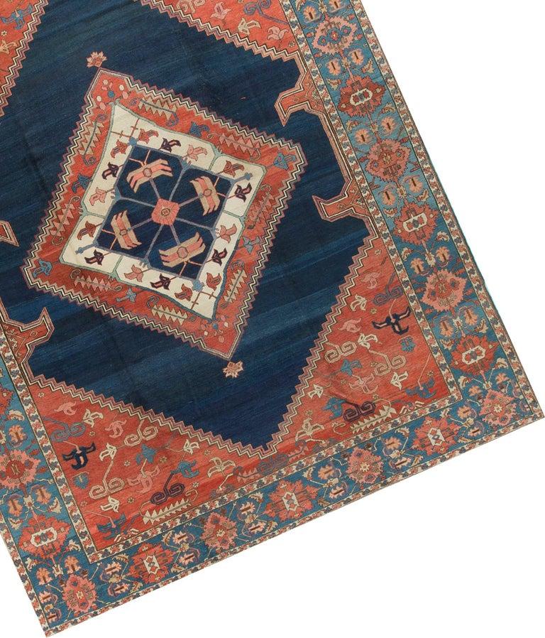 Hand-Knotted Antique Persian Serapi Rug Carpet circa 1890 For Sale