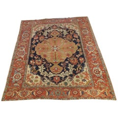 Antique Persian Serapi Rug 'Old Heriz', Navy Field, Wool, Room Size, 1890