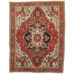 Antique Persian Serapi Rug, Red-Rust Field, Wool, 1890