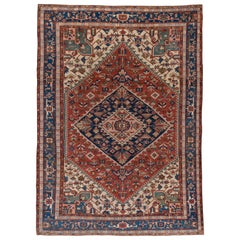 Antique Persian Serapi Rug, Rust Field, Blue Borders, Pink and Green Accents