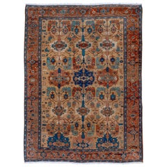 Antique Persian Serapi Rug, Tan All-Over Field, Rust Borders, Royal Blue Accents