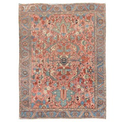 Antique Persian Serapi Rug with All-Over Geometric Design in Salmon, Light Blue