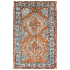 Antique Persian Serapi Small Rug with Dual Medallion Design in Orange and Blue