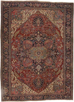 Antique Persian Serapi Great Room Rug with English Tudor Manor House Style