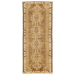 Antique Persian Shahsavan Rug with Brown and Beige Geometric Patterns