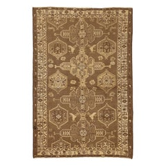 Antique Persian Shahsavan Rug with Brown and Ivory Geometric Tribal Patterns