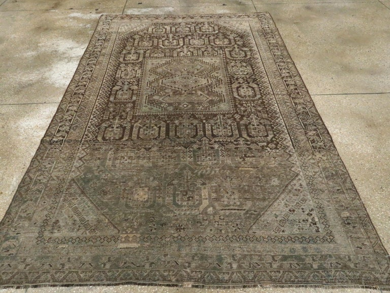 Antique Persian Shiraz Rug In Fair Condition For Sale In New York, NY