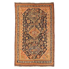 Antique Persian Shiraz Rug with Floral and Geometric Medallions Allover