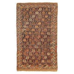 Antique Persian Shiraz Rug with Green and Brown Floral Medallions All-Over