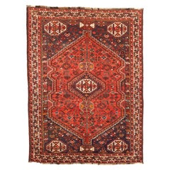 Antique Persian Shiraz Rug with Red and White Geometric Details on Black Field