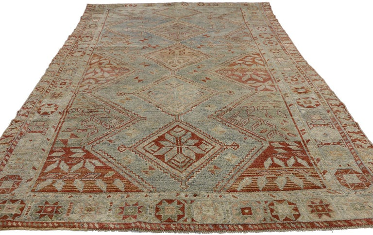 Rustic Antique Persian Shiraz Rug with Subtle Bungalow Style For Sale
