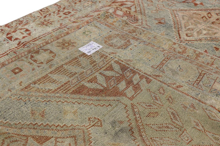 Hand-Knotted Antique Persian Shiraz Rug with Subtle Bungalow Style For Sale