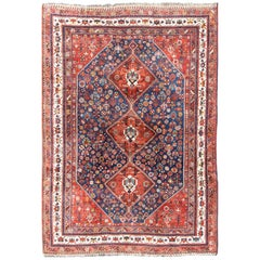 Antique Persian Shiraz Rug with Tri-Medallion Geometrics in Royal Blue and Red