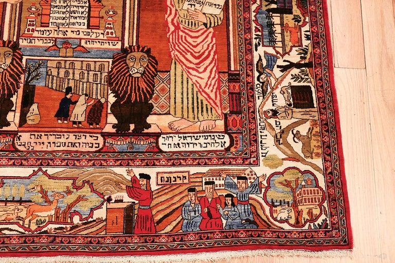 Antique Persian Silk Kashan Judiaca Rug For Sale 4