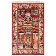Antique Persian Silk Kashan Judiaca Rug