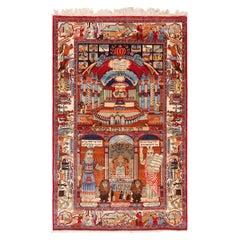 Antique Persian Silk Kashan Judiaca Rug. Size: 4 ft 4 in x 6 ft 9 in