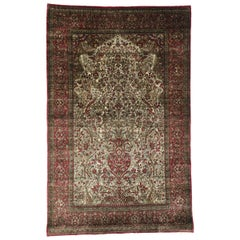 Antique Persian Silk Kashan Prayer Rug with Empire Regency Style