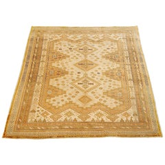 Antique Persian Sirjan Rug with Green and Beige Geometric Medallions