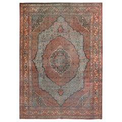 Antique Persian Sky Blue Tabriz Rug, circa 1870