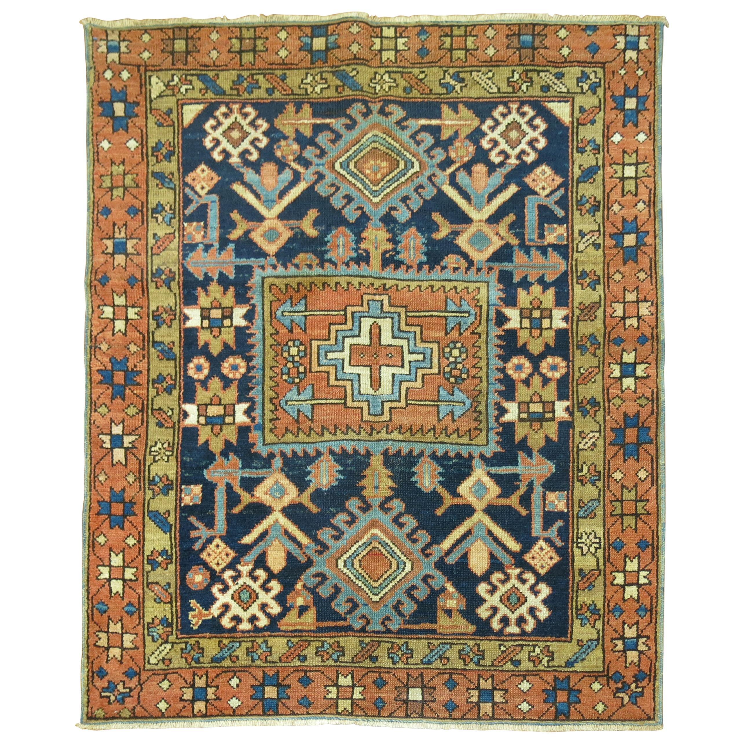 Antique Persian Square Navy Blue Heriz Rug