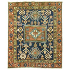 Antique Persian Square Navy Blue Heriz Rug