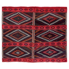 Antique Persian Square Rug Kilim Design