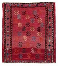 Antique Persian Square Rug Kilim Design, Size: 3' x 3'2''