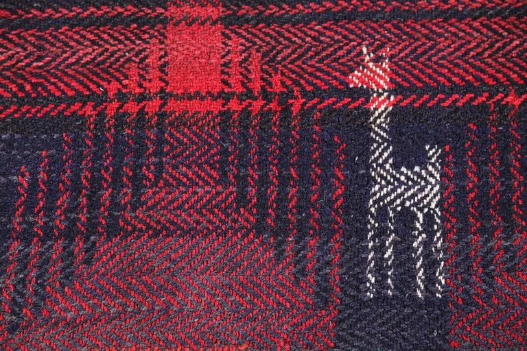 Antique Persian Square Rug Kilim Design In Excellent Condition For Sale In Dallas, TX