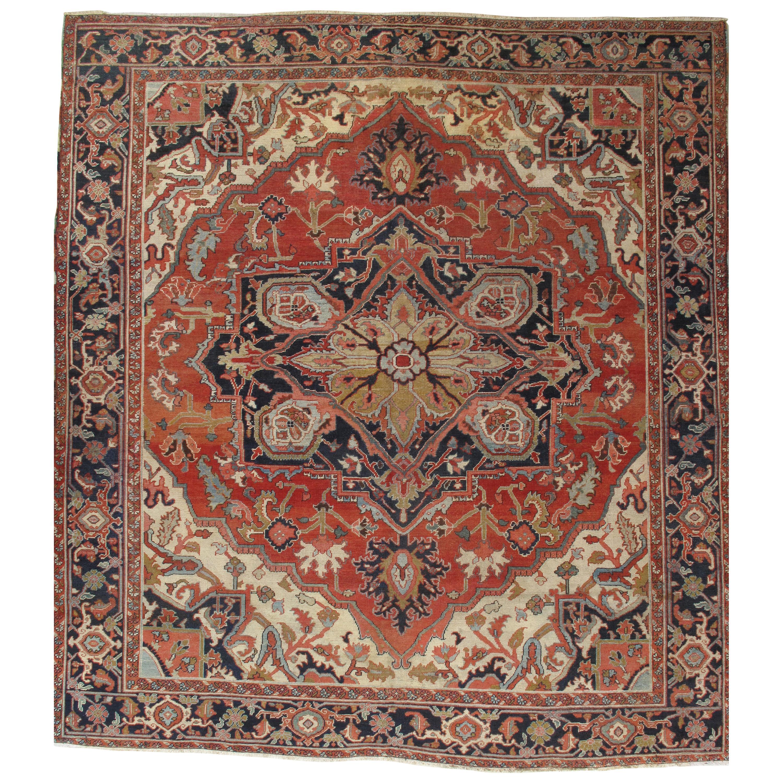 Antique Persian Square Serapi Carpet, Handmade Rug Ivory, Gold, Navy, Rusty Red