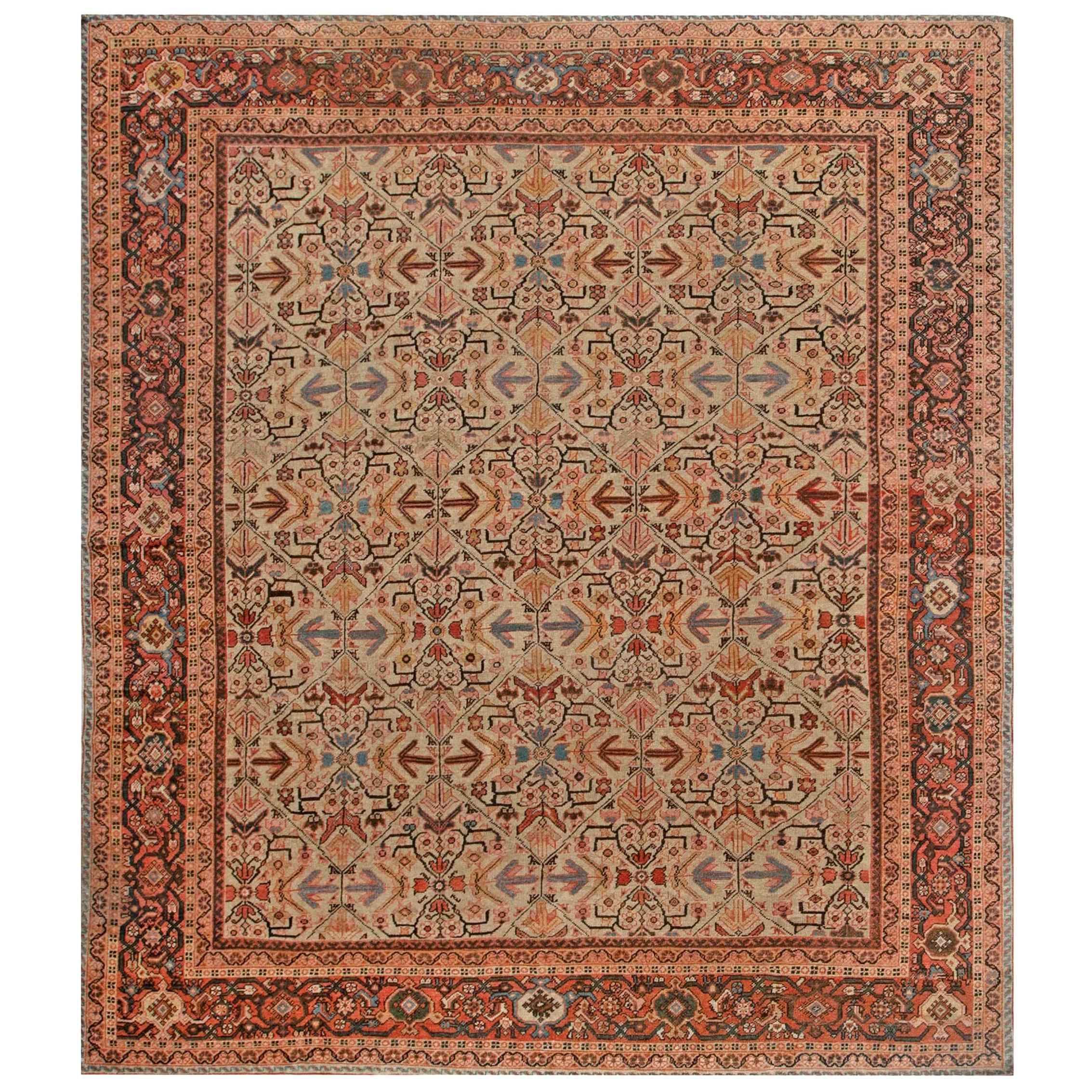 Antique Persian Sultanabad Beige, Blue, Brown and Orange Handmade Wool Rug