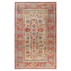 1900s Persian Sultanabad Beige, Blue, Brown, Pink and Red Handwoven Wool Rug