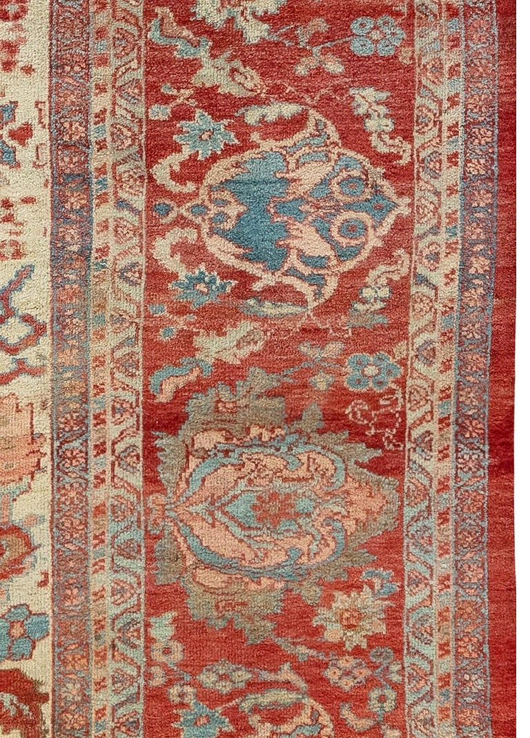 Antique Persian Sultanabad Beige, Blue, Brown, Pink and Red Wool In Good Condition For Sale In New York, NY