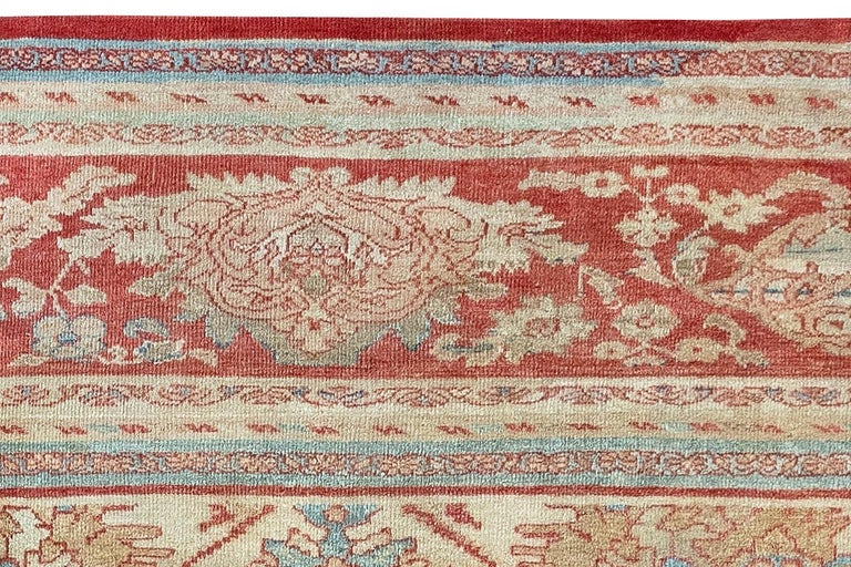 20th Century Antique Persian Sultanabad Beige, Blue, Brown, Pink and Red Wool For Sale